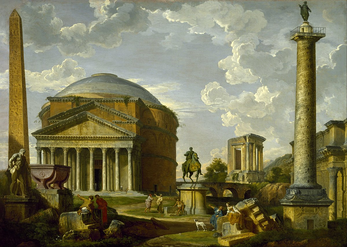 Fantasy view with the Pantheon and other monuments of Ancient Rome, 1737, by Giovanni Paolo Panini