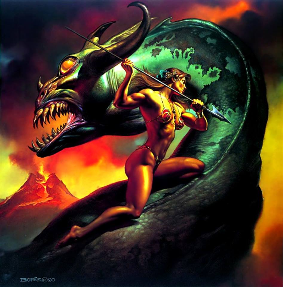 Hollywood Metal Featured Art: Boris Vallejo - Basilisk (1990)