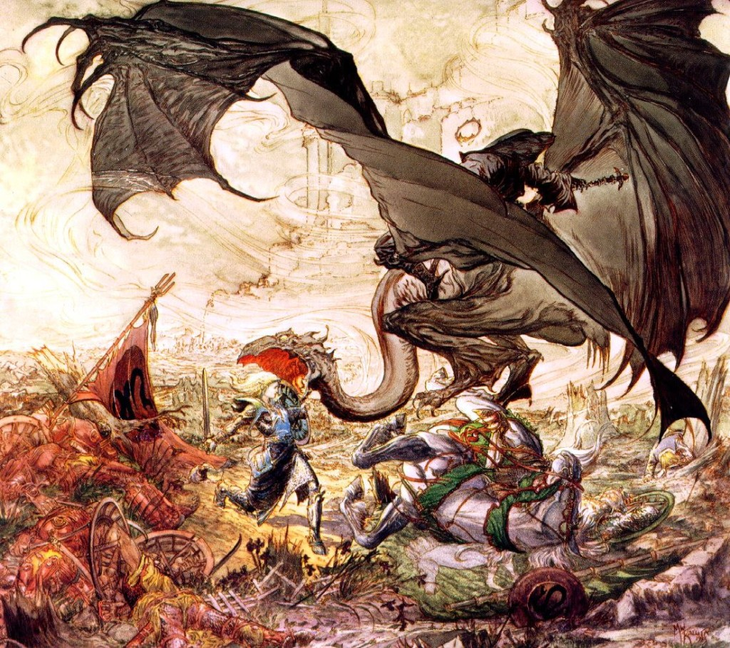 Hollywood Metal Fantasy Art: Michael Kaluta - Éowyn and the Witch-King of Angmar (1994)