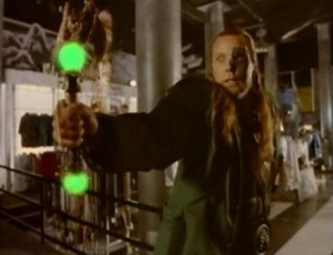 Somehow a metallic glowstick which shoots lasers out of its sides is the least ridiculous thing in the movie.