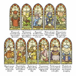 I am really not joking about the level of detail. These are the eleven exemplary matriarchs, a series of stained glass depicting great female mice of past generations that lay on the inside of the Lockhaven private chamber.