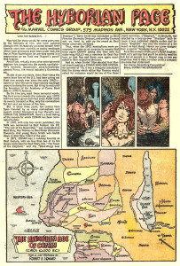 Map of the Hyborian Age that comes in the back of each issue plus a wall of text that also come inside each issue.