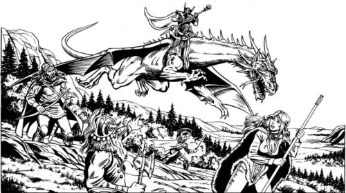 Verminaard, the dragon highlord of Pax Tharkas, on his huge red dragon Ember
