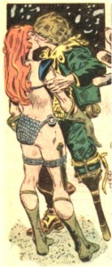 So this was odd considerering how in maybe an issue previous, Sonja stated her vow of never letting a man touch her lest he defeat her in combat. I guess peg leg gets to get a pass?