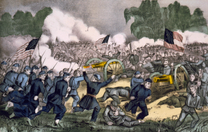 Bayonets gleam in the morning sun / Smoke and fire belching from their guns  / Another volley and again they strike  / Thousands more comin' down the Chambersburg pike